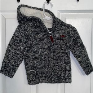 Fleece lined grey hooded sweater for baby